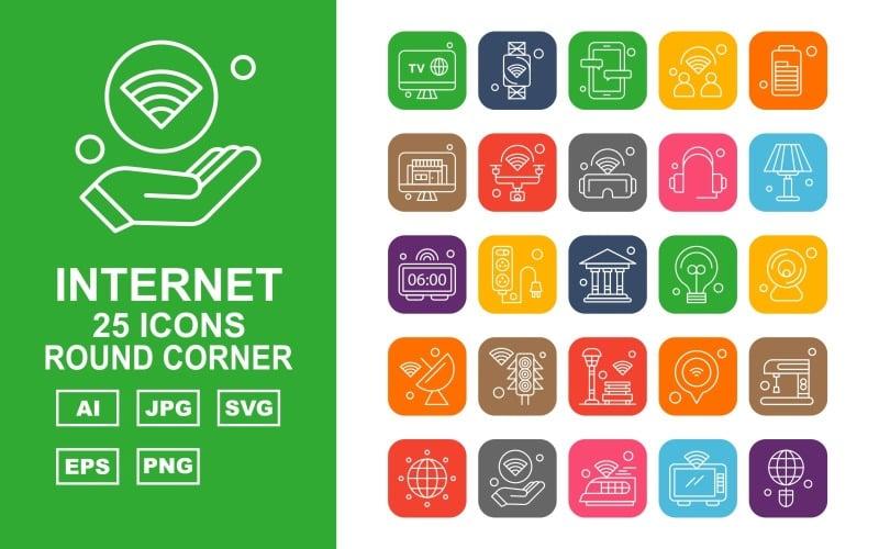 Набор из 25 круглых угловых значков Premium Internet II