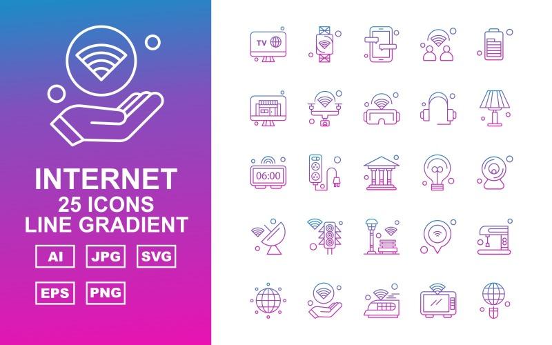 Набор из 25 линейных градиентных иконок Premium Internet II