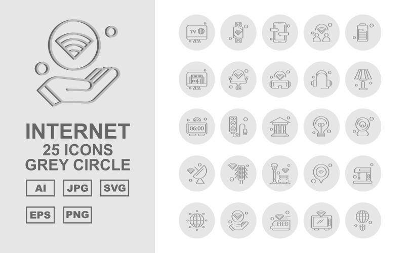 Набор из 25 серых кружков Premium Internet II