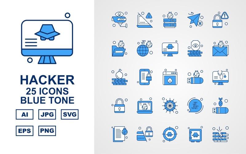 Набор из 25 значков премиум-хакерского синего тона