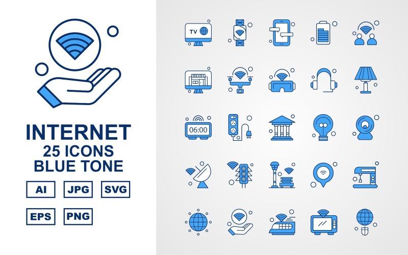 Набор из 25 значков синего тона Premium Internet II