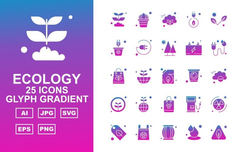 25 премиальных экологических глифов градиентных иконок