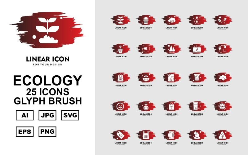 25 премиальных приложений Android Glyph Brush Icon Set