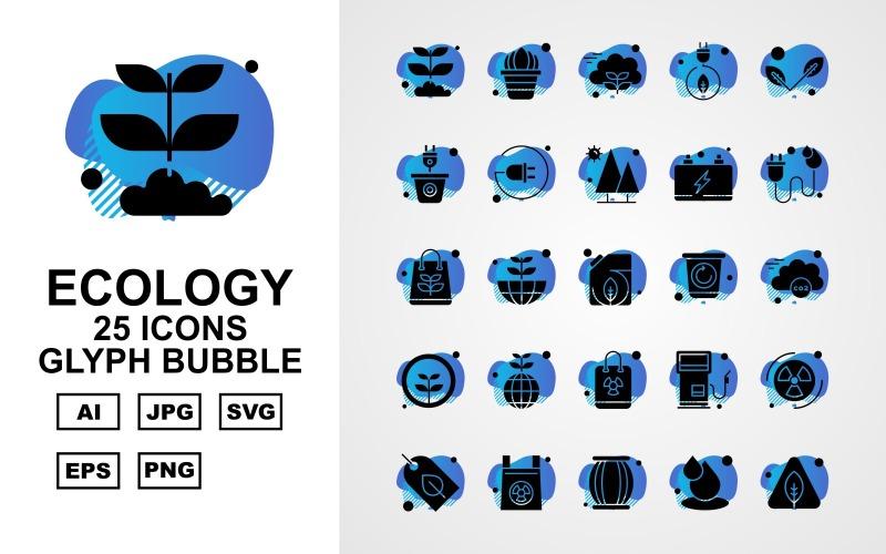 25 премиальных приложений Android Glyph Bubble Icon Set