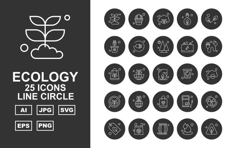 25 премиальных приложений Android Line Circle Icon Set
