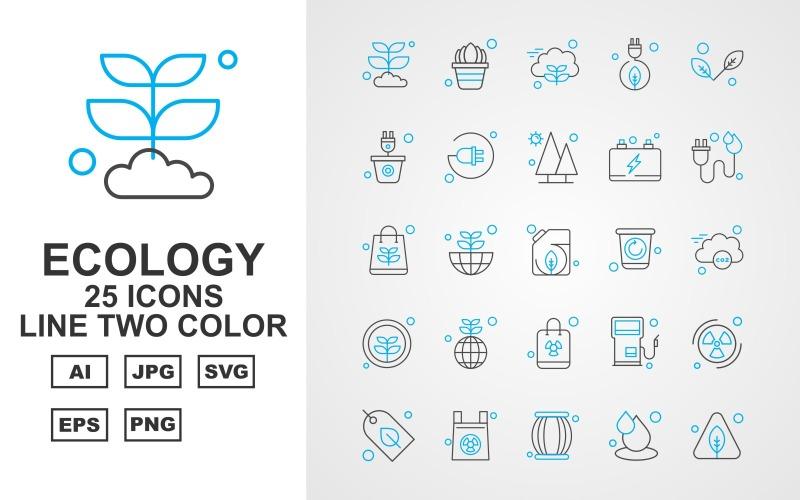 25 премиальных приложений Android Line двухцветный набор иконок