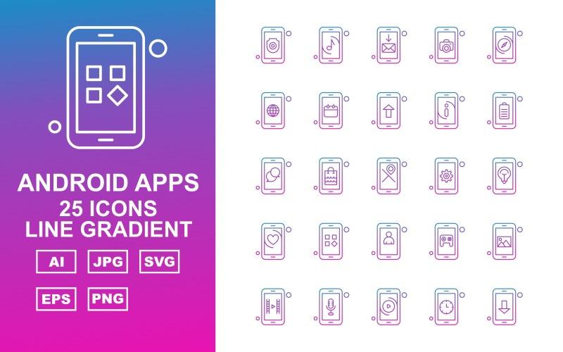 25 премиальных приложений Android Line Gradient Icon Set