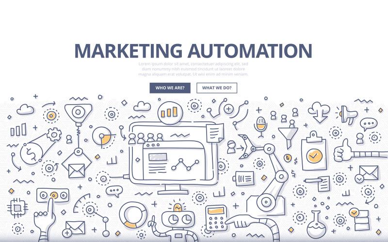 Концепция каракули автоматизации маркетинга - векторное изображение