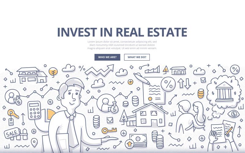 Концепция каракули инвестиций в недвижимость - векторное изображение