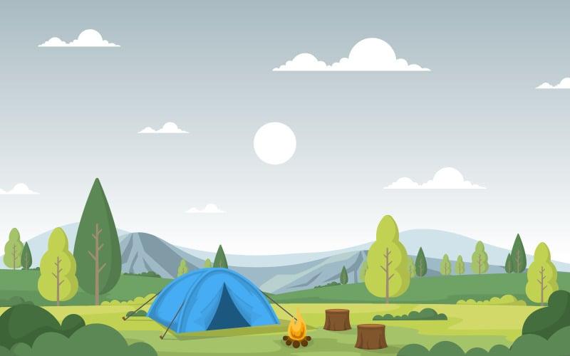 Горный кемпинг пейзаж - Иллюстрация