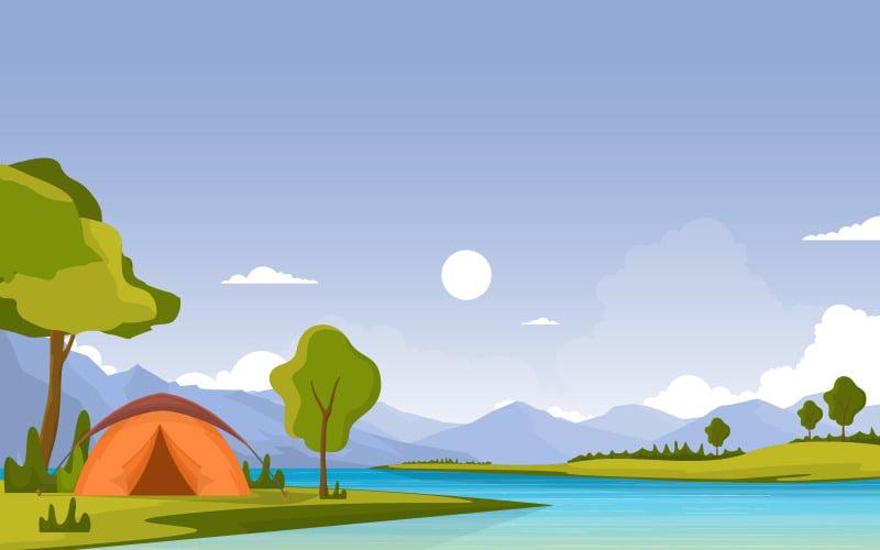 Кемпинг речной пейзаж - Иллюстрация