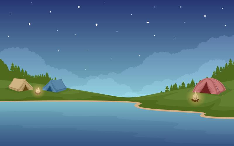 Ночной кемпинг-парк - Иллюстрация