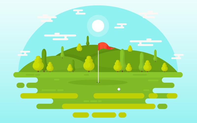 Открытое поле для гольфа - Иллюстрация