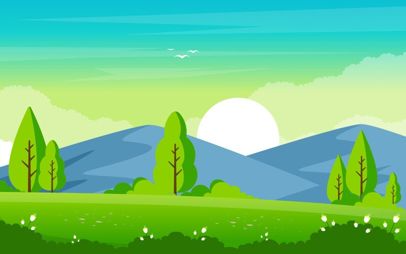 Горная зеленая природа - Иллюстрация