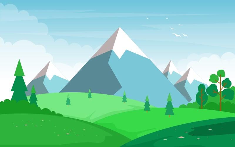 Горное зеленое поле - Иллюстрация