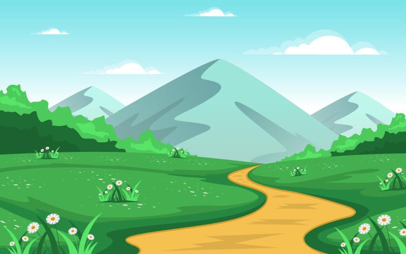 Летняя горная страна - Иллюстрация