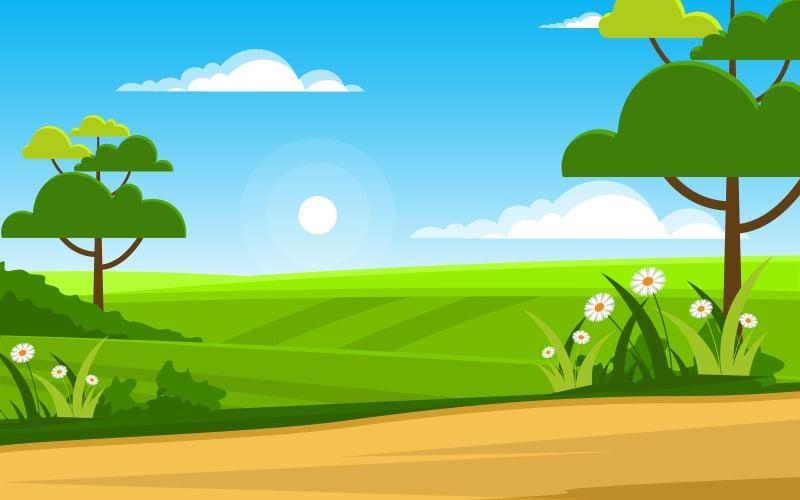 Летняя зеленая природа - Иллюстрация