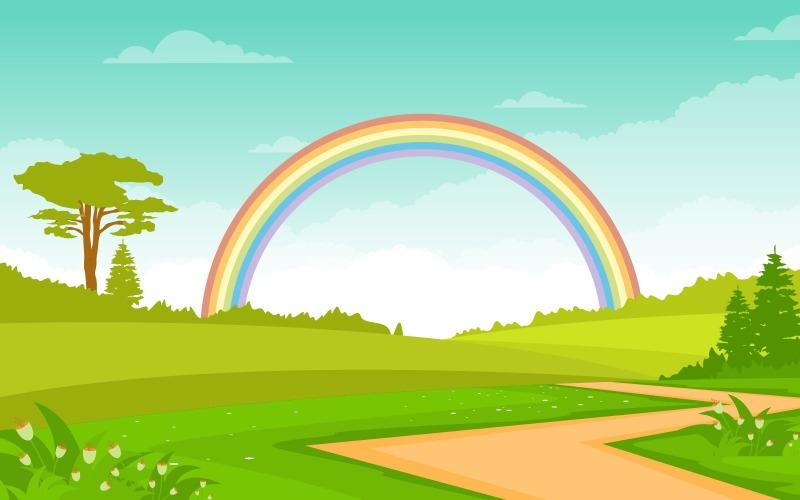 Летнее радужное небо - Иллюстрация