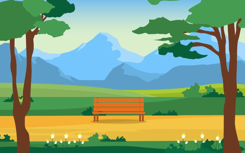 Летний парк зеленый - Иллюстрация