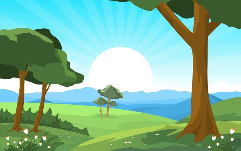 Летний восход зеленый - Иллюстрация