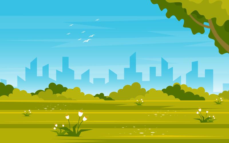 Летний зеленый парк - Иллюстрация