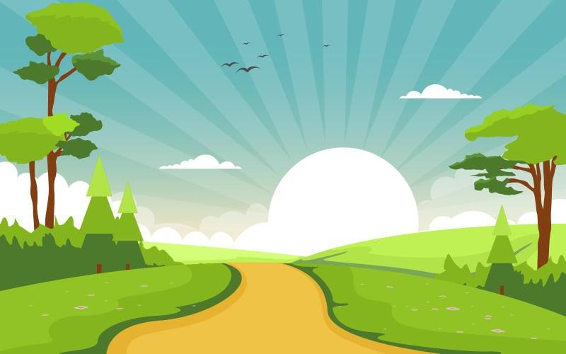 Летний зеленый восход - Иллюстрация