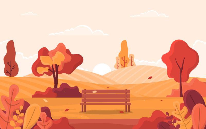 Осеннее золотое дерево - Иллюстрация