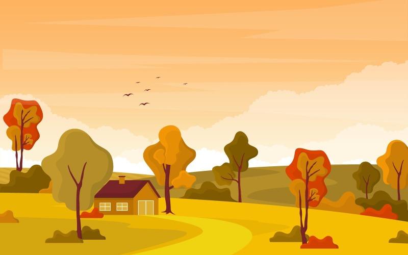 Осенний осенний пейзаж - Иллюстрация