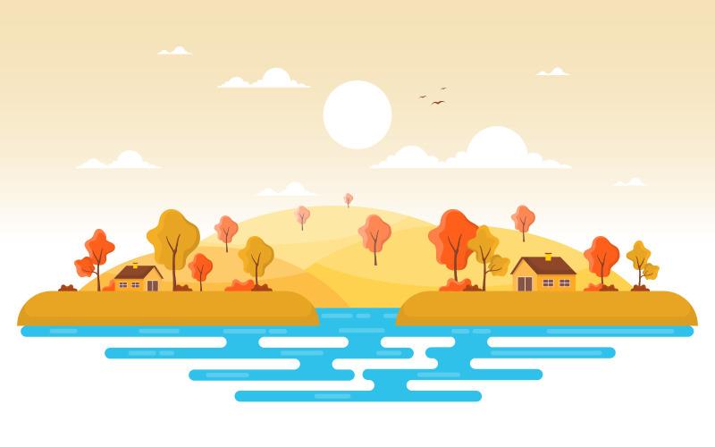 Осенний сезон пейзаж - Иллюстрация