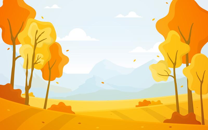Осенний желтый панорамный - Иллюстрация