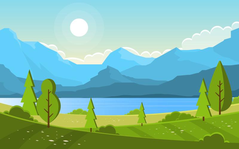 Озеро Зеленая природа - Иллюстрация