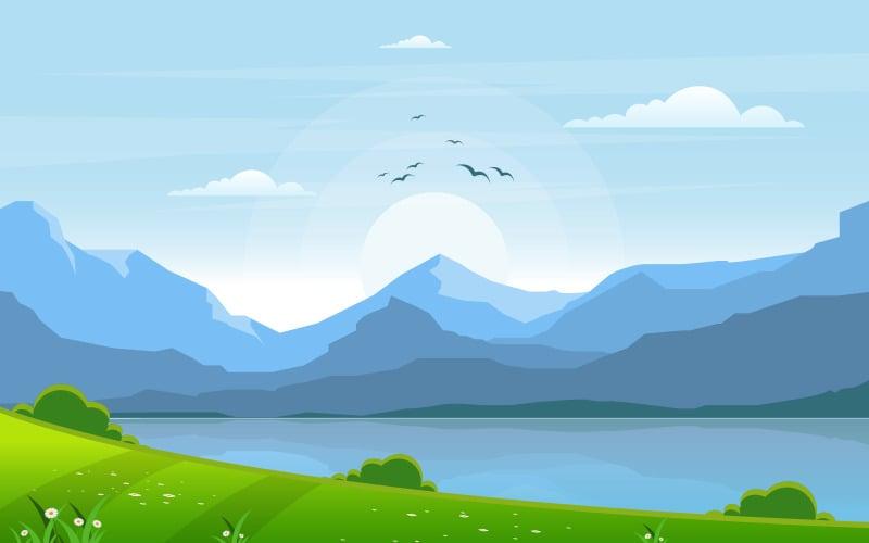 Озеро зеленый пейзаж - Иллюстрация