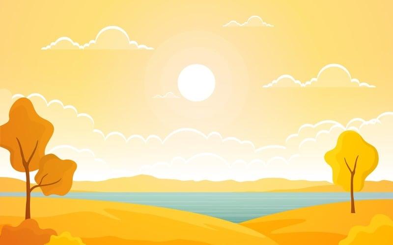 Панорамное желтое озеро - Иллюстрация