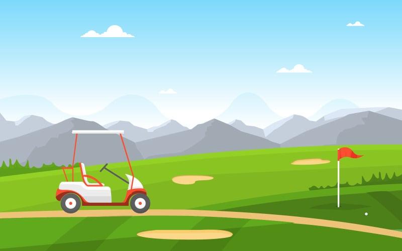 Пейзаж поля для гольфа - Иллюстрация