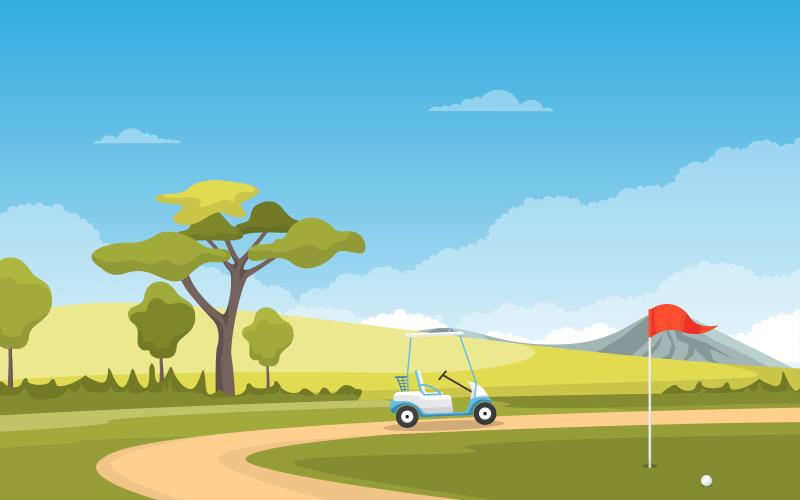 Поле для гольфа - Иллюстрация