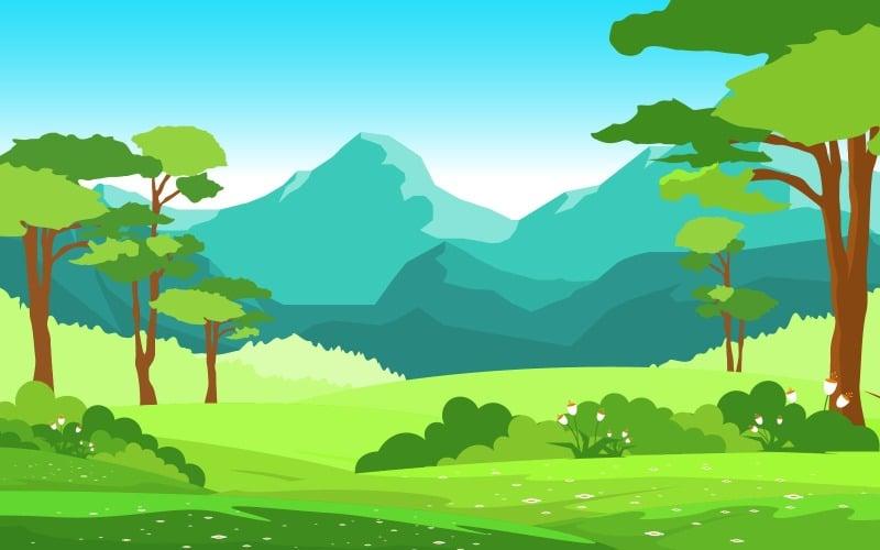 Природа Поле Гора - Иллюстрация