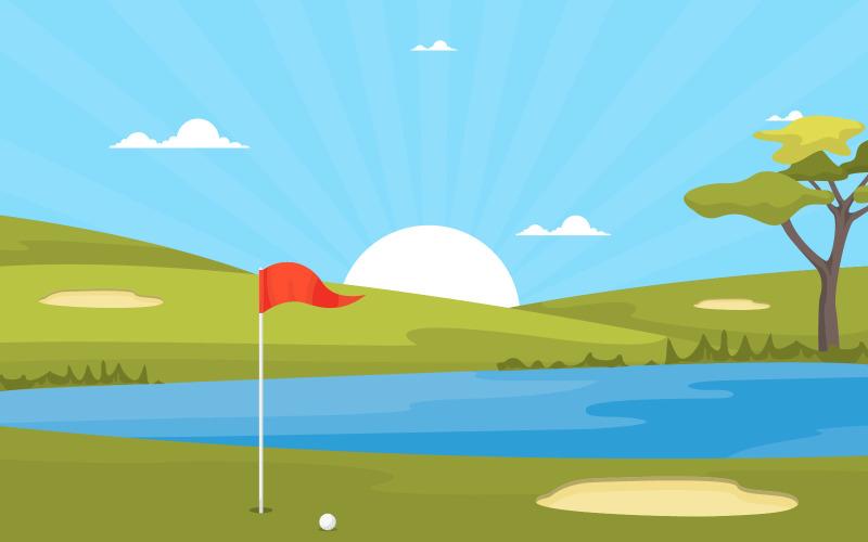 Пруд поля для гольфа - Иллюстрация