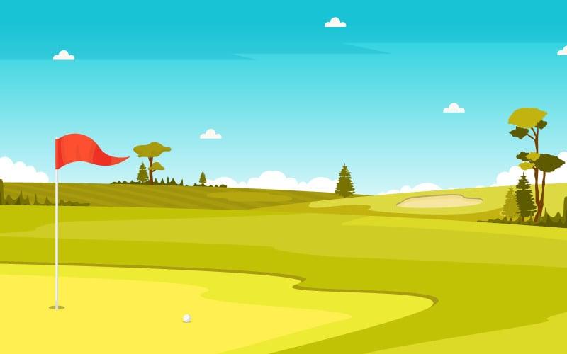 Зеленый пейзаж поля - Иллюстрация