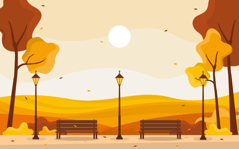 Желтый осенний пейзаж - Иллюстрация
