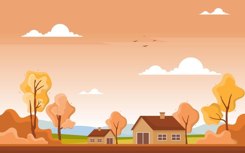Золотая осень панорамный - Иллюстрация