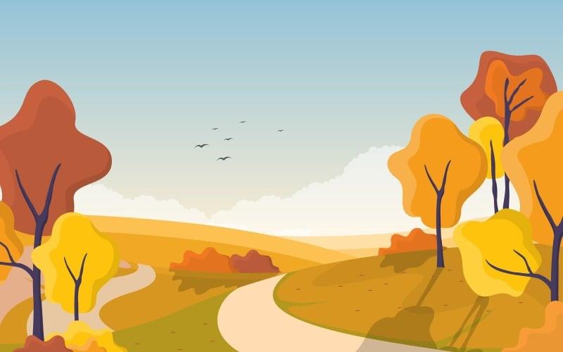 Золотое дерево пейзаж - Иллюстрация