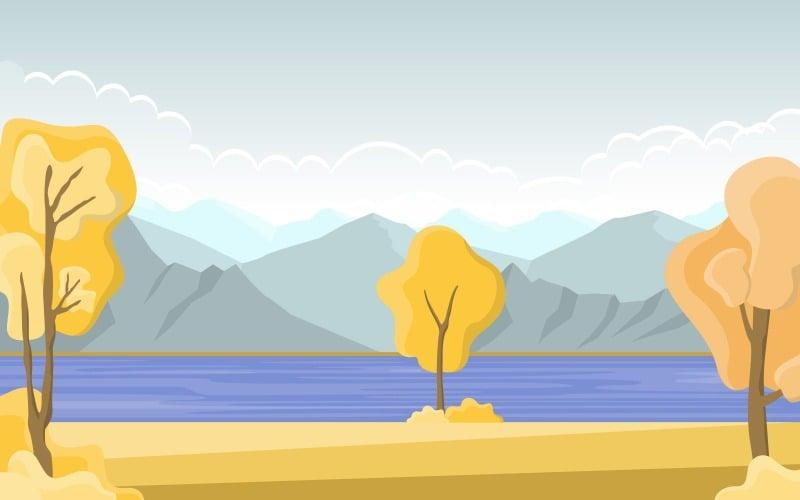 Золотое желтое озеро - Иллюстрация