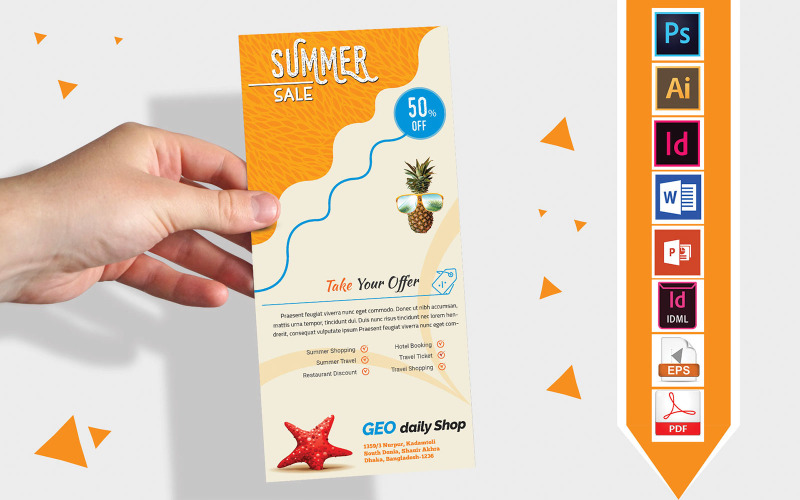 Карточка стойки   Летняя распродажа DL Flyer Vol-01 - Шаблон фирменного стиля
