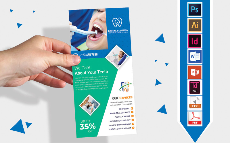 Карточка стойки   Dental DL Flyer Vol-03 - Шаблон фирменного стиля
