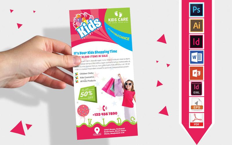 Карточка стойки   Детский магазин модной одежды DL Flyer Vol-01 - Шаблон фирменного стиля