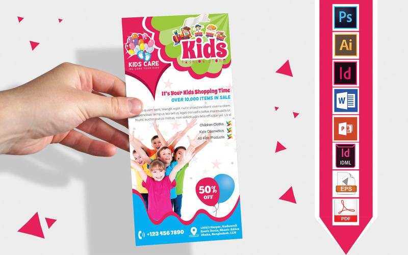 Карточка стойки   Детский магазин модной одежды DL Flyer Vol-02 - Шаблон фирменного стиля
