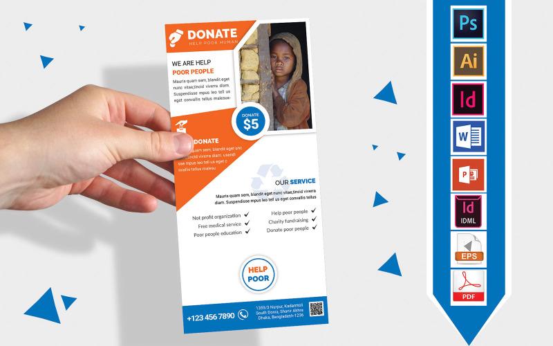 Карточка стойки | Флаер DL Vol-01 для благотворительных пожертвований - Шаблон фирменного стиля