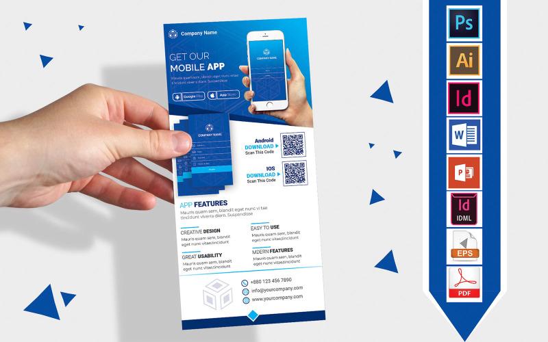 Карточка стойки   Рекламный листок DL для мобильного приложения Vol-03 - Шаблон фирменного стиля