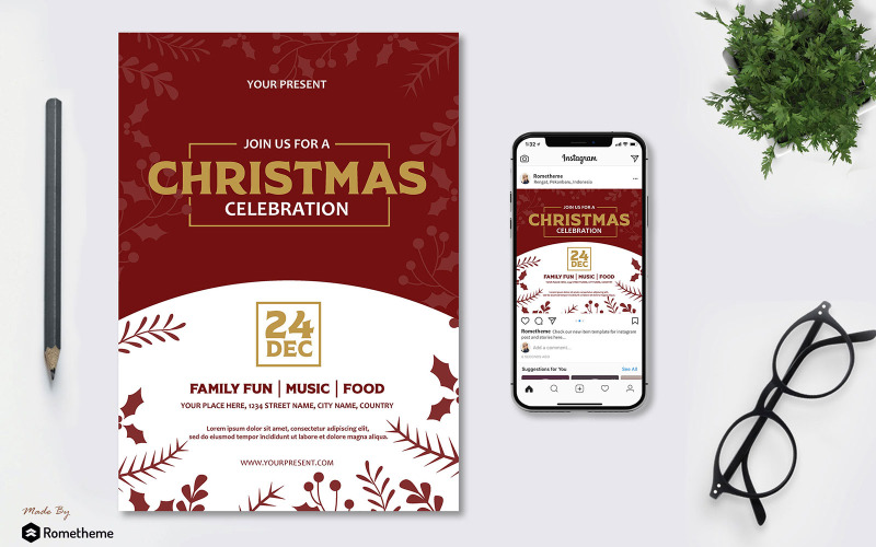 Празднование Рождества - Флаер AS - Шаблон фирменного стиля
