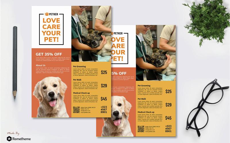 Ветеринария, том 01 - Флаер по уходу за домашними животными RB - Шаблон фирменного стиля